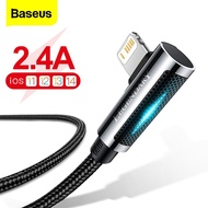 Baseus LED USB สายสำหรับ iPhone 12 11 Pro Max XS XR Pad Air 90องศา Fast Charger Charger สำหรับ iPad Airpods Pro สายโทรศัพท์สายข้อมูลสายไฟ