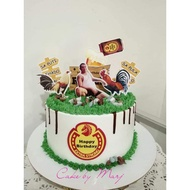 Redhorse with rooster theme cake topper