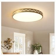 美式金色圓形全銅吸頂燈含LED三色光(菱形款)直徑30cm-24W