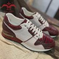 Patina สีแดงและสีขาว Cro หนังจระเข้ Lady รองเท้าผ้าใบทำด้วยมือรองเท้ารองเท้า6.5 7 7.5 8 8.5 9 9.5 Designer รองเท้า