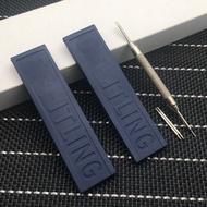 สีดำที่ตกแต่งเค้กซิลิโคนสีฟ้านาฬิกาข้อมือยาง20มม.สร้อยข้อมือสำหรับ Navitimer/Avenger/Breitling สายคล้องเครื่องมือ