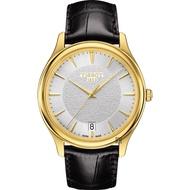 【TISSOT 天梭】18K金 Fascination 石英錶-銀x黑/40mm(T9244101603100)