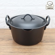 日本高桑深型油炸鐵鍋附鐵蓋20cm鐵湯鍋雙耳鍋-大廚師百貨