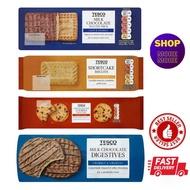 BISCUIT - COOKIES:  TESCO Milk Chocolate Malted - Shortcake - Chocolate Chip Cookie - Milk Chocolate Digestives