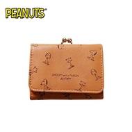滿版款【日本正版】史努比 珠扣 三折 短夾 皮夾 錢包 Snoopy PEANUTS - 225486