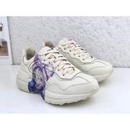 Gucci古馳 Rhyton Vintage 象牙白墨鏡貓印花復古女子老爹休閒運動慢跑鞋