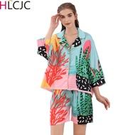 Women Silk Pyjamas Femme Satin Pijama Sleepwear Short Sleeve Fashion Pajamas for girl Nightwear Suit