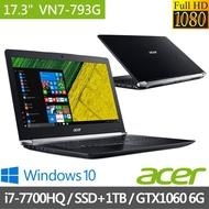 Acer  17.3吋電競筆電 i7-7700HQ/16G/256G PCIe SSD+1T/GTX1060-6G (VN7-793G-74JG)