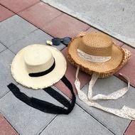 雙色 草帽 蕾絲 緞帶 黑白 深淺 防飛 下巴 圓頂 毛邊 刷鬚 遮陽帽 漁夫帽 草編帽 拉菲草 編織 ANNA S.