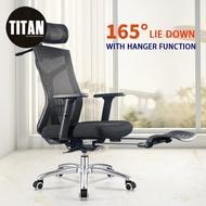 TITAN Ergonomic Chair Computer Chair with Hanger Home Study Chair Reclining Swivel Chair Conference Chair Gaming Chair Lift Office Chair  (Office Chair/Office Chair Base/Kerusi Pejabat)