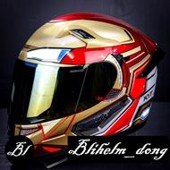 Kyt Helmet K2 Rider + + Marvel Ironman | Red Maron Gold + Spoiler + Flat