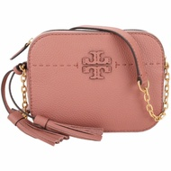 TORY BURCH McGraw 縫線設計流蘇牛皮斜背相機包(木蘭粉)
