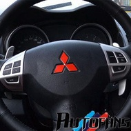 三菱LANCER FORTIS方向盤改裝貼紙 菱形紅標 車貼反光貼紙