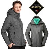 【美國 The North Face】女新款 GORE-TEX 防風防水透氣兩件式風帽外套.輕量機能運動夾克.風衣/內件600FPl羽絨外套/3KTP 瀝灰/薄荷藍 N
