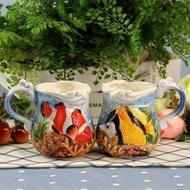 地中海 熱帶魚親嘴馬克杯 情侶對杯 陶瓷茶杯結婚情人節禮品