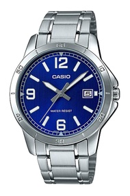Casio Standard นาฬิกาข้อมือผู้ชาย สายสแตนเลส รุ่น MTP-V004DMTP-V004D-2BMTP-V004D-2BUDF ( CMG ) - สีเงิน