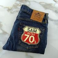 Justin กางเกงยีนส์ ขากระบอกริมแดง สี สนิม  สินค้าใหม่