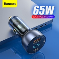 Baseus 65W PPS Car Charger USB Type C Dual Port PD4.0 QC3.0 Fast Charging For iPhone 12 Pro Max 11 Laptop Samsung Xiaomi Huawei Vivo Oppo Quick Charging