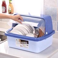 碗櫃塑膠廚房瀝水碗架帶蓋碗碟架放碗箱碗筷餐具收納盒碗盤置物架jy