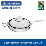 TRAMONTINA 32cm Stainless Steel Wok with Lid (Trix)