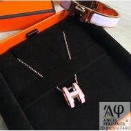 Hermes pop H 愛馬仕橢圓 H logo項鍊 粉紅+ 玫瑰金 全新正品