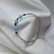 ⧫非銀不可⧫天然海藍寶拉長石黑尖晶 925純銀手鍊 獨家設計