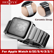 Full Ceramic Watchband สายนาฬิกา for apple watch series 6 Band 40mm 44mm smart watch สาย Replacement Band Wrist Strap Bracelet สายนาฬิกาข้อมือ for Apple Watch Series SE 5 4 3 2 1 38mm 42mm butterfly buckle