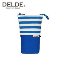 藍色款【日本正版】DELDE 條紋系列 帆布 伸縮筆袋 筆筒 鉛筆盒 收納包 sun-star - 489667
