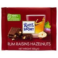 【買四送一、贈品隨機】Ritter Sport 蘭姆榛果葡萄巧克力100g
