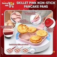 ☎☌℗  NEW! sthetic Frying Pan 4 Holes Nonstick Thickened Omelet Pan Pancake  Burger Pan (PastelPink)