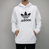 【adidas 愛迪達】TREFOIL HOODIE 白-DU7780(男運動帽T)
