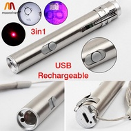 MR New 3 in1 Mini USB Rechargeable LED Laser UV Torch Pen Flashlight Multifunction Lamp