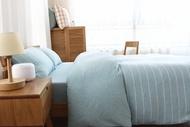 日式新疆天竺棉系列~MUJI無印良品風 純棉簡約水藍寬條紋雙人床包被套4件組-吸汗/透氣/舒適~PicHome 挑 家居