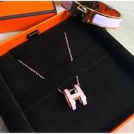 (琪琪代購) Hermes pop H 愛馬仕橢圓 H logo項鍊 粉紅+ 玫瑰金