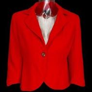 美國品牌Banana Republic香蕉共和國紅色羊毛7分袖西裝外套 4號