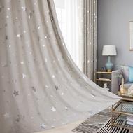 ผ้าม่านประตู ผ้าม่านสำเร็จรูป ม่านตาไก่ ประตู ขนาด 1.00 x 1.30 เมตร กันแสง กันยูวี100% กั้นแอร์ Night Star ลายดาว