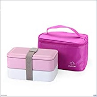 Lunch Box Lunch box, double Tupperware package, sealed adult lunch box, (Color : Pink, Size : 1200ml)