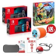 【Nintendo 任天堂】Switch電力加強主機+《健身環大冒險》+《精選遊戲x1》+《精靈球》