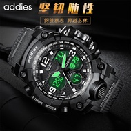 【Ready Stock】○○○addies/addies2021 new electronic watch student multi-function sports dual display men's watch