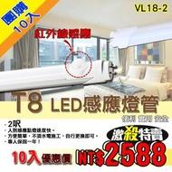 《團購限定-10入》【基礎照明旗艦店】(WPVL18-2呎) LED T8感應式燈管 10W-2呎 免啟動器 節能省電 日光燈管 層板燈  保固