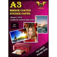 20x 7 Heaven A3 Mirror Coat Sticker Paper 260gsm (50pcs/pkt)
