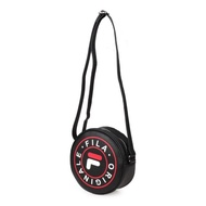 【FILA】圓形側背包-復古 斜背包 肩背包 黑白紅(BMU-3012-BK)