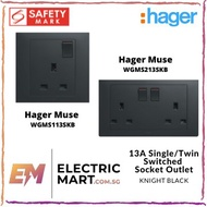 Hager Muse WGMS113SKB / WGMS213SKB 13A Single / Twin Switched Socket Outlet (Suitable for BTO)