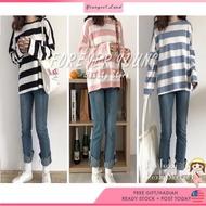 baju perempuan YOUNGEST LAND Korean Fashion Baju Lengan Panjang baju belang Loose Striped Shirt  Long Sleeve T-shirt