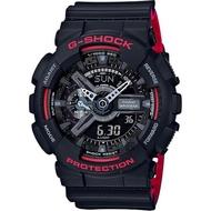 【CASIO】G-SHOCK 人氣經典紅黑雙顯手錶(GA-110HR-1A)