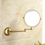 萊爾衛浴 全銅8寸歐式金色復古雙面放大美容鏡 貼墻式化妝鏡【時尚巴黎】