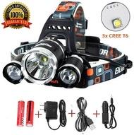 Best Sellers LED Headlamp 20000 Lumen flashlight IMPROVED LED- Rechargeable 18650 headlight flashlights Waterproof Hard Hat Light Camping Running headlamps Super Bright Headlight (Silver)