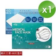 現貨-宏瑋 台灣製三層醫療口罩(30片盒裝)+拋棄式口罩防護墊片60片盒裝) 1入組