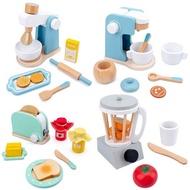 ไม้ทำเป็นชุดของเล่นจำลองเครื่องปิ้งขนมปังเครื่องทำขนมปังกาแฟเครื่องปั่นเบเกอรี่ชุดเกม Mixer ครัวบทบาทของเล่นเด็ก