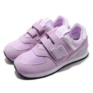 【NEW BALANCE】慢跑鞋 YV574EMW 寬楦 運動 童鞋 紐巴倫 透氣 舒適 魔鬼氈 球鞋 中童 粉紫 白(YV574EMW)